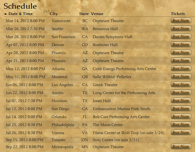 Legend of Zelda Symphony Tour Date List
