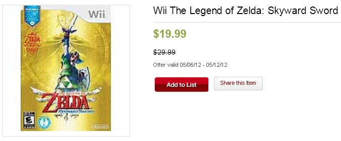 Skyward Sword on Sale at Kmart for 20 dollars