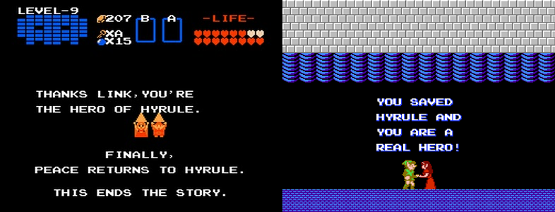 Zelda's only dialogue in The Legend of Zelda and The Adventure. Still says more than Link ever did.