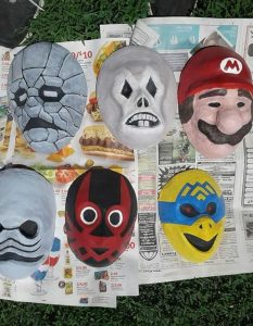 Happy Mask Salesman's Masks After Paint