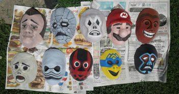 Happy Mask Salesman's Masks After Paint