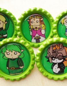 Legend of Zelda Character Bottle Cap Pins