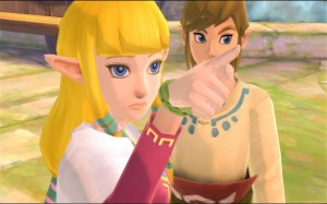 Skyward Sword's Zelda knows it is not polite to point. She does it anyway.