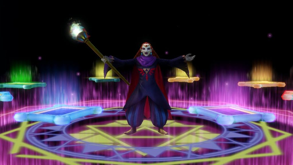 Yuga displaying all of the sages trapped in paintings during his closing cutscene.